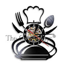Cooking Cutlery Vinyl Record Wall Clock Chef Cap Vintage Kitchen Room Restaurant Catering Services Decor Wall Art Clock Watch