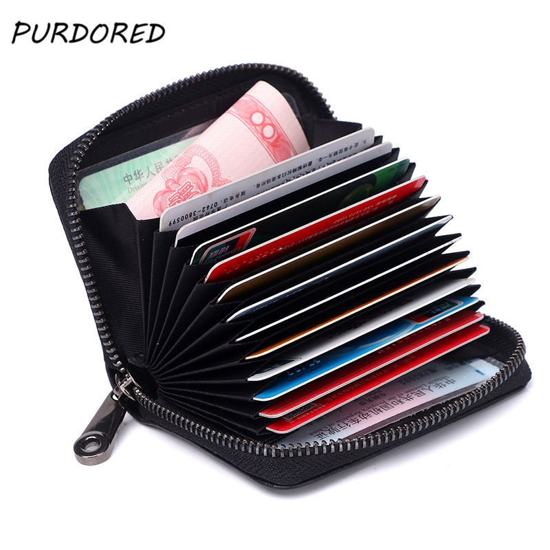 PURDORED 1 Pc Business Card Holder Genuine Leather Credit Card Holder Women Zipper Pocket Unisex Card Case Dropshipping