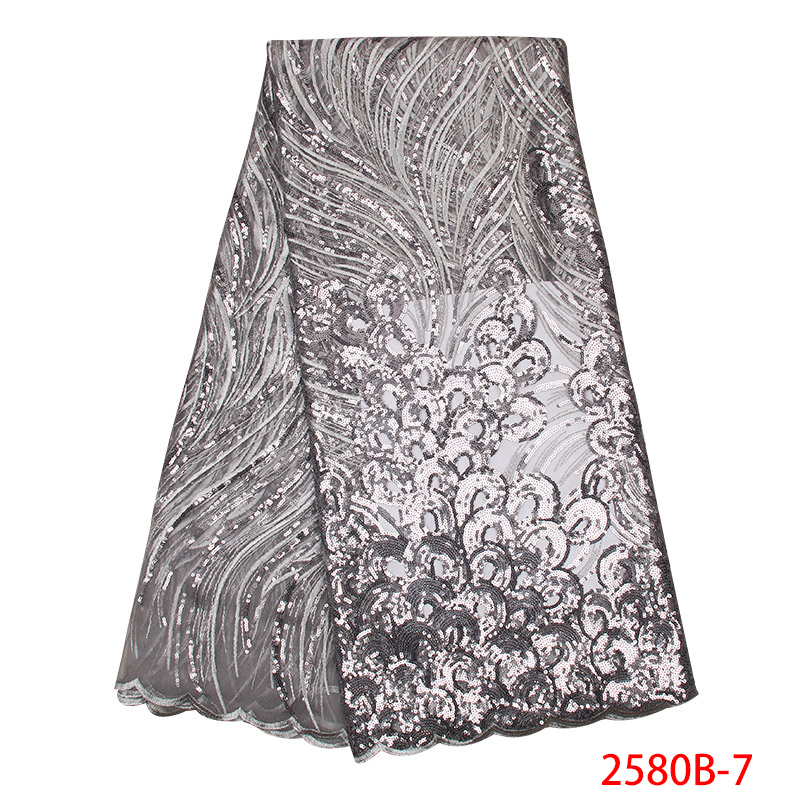 Hot Sale Nigerian Laces Fabrics 2019 High Quality  French Lace Fabric Tulle Net With Beads And Sequins For Women Dress KS2580B-7