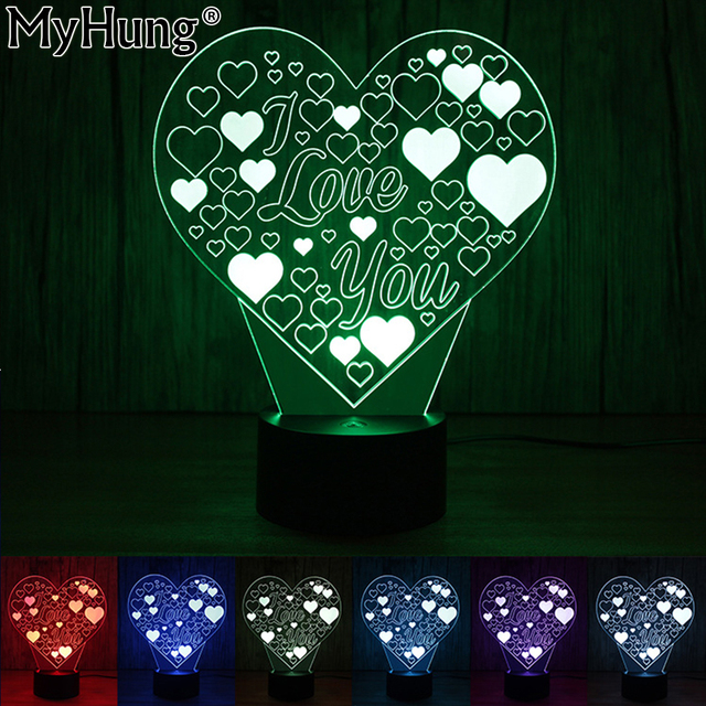 Lovely 3D Illusion Lamp Heart Shape I Love You LED Night Light Romantic Valentineu0027s  Day Gift For Images