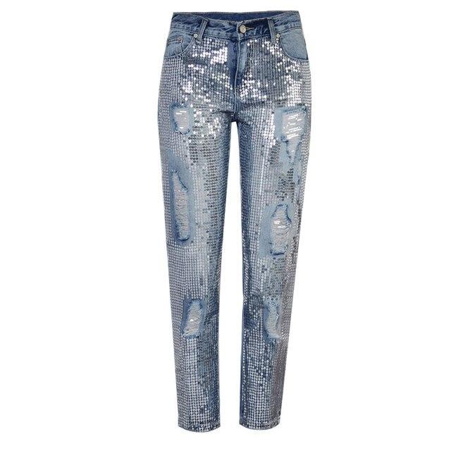 9c7804eccd9 2018 Sequins Ripped Jeans For Women Vintage Ankle Length Jeans Plus Size  Women Denim Pants Female Pantalon Femme Trousers