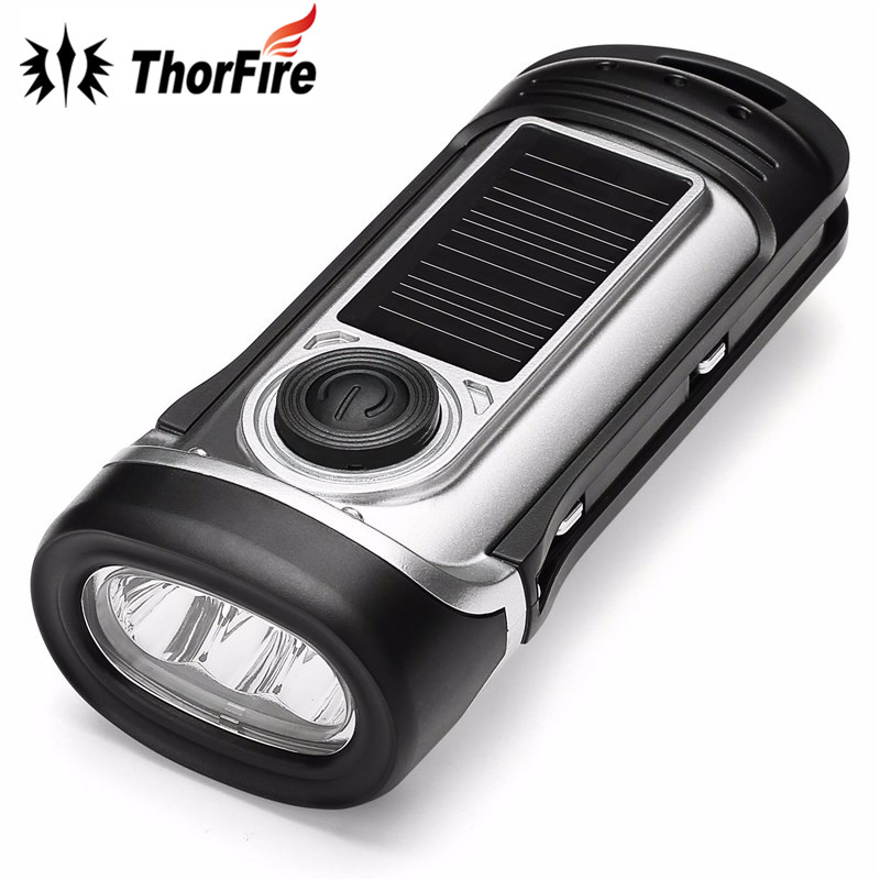 ThorFire Emergency Dynamo Solar Hand Crank LED Flashlight Rechargeable LED Light torch for Camping Hiking new mini portable dynamo flashlight solar lamp energy saving rechargeable night light outdoor lighting for hiking camping