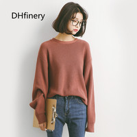 2017 autumn and winter Korean style sweater loose lady round neck bat sleeves sweater A918