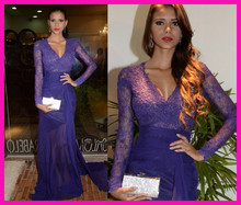 2014 Real Sexy Purple Sheer Lace V Neck Transparent Chiffon Long Sleeves Evening Prom Dresses E5800