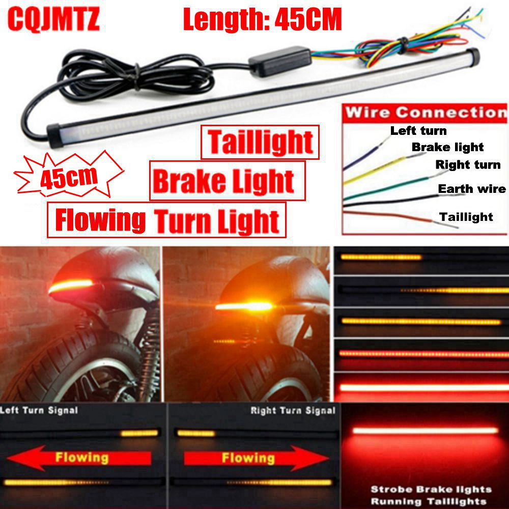 Online Shop Motorcycle Red Amber Led 45cm Sequential Switchback Turn Signal Wiring Diagram Flowing Tail Brake Light Running Strip Aliexpress Mobile