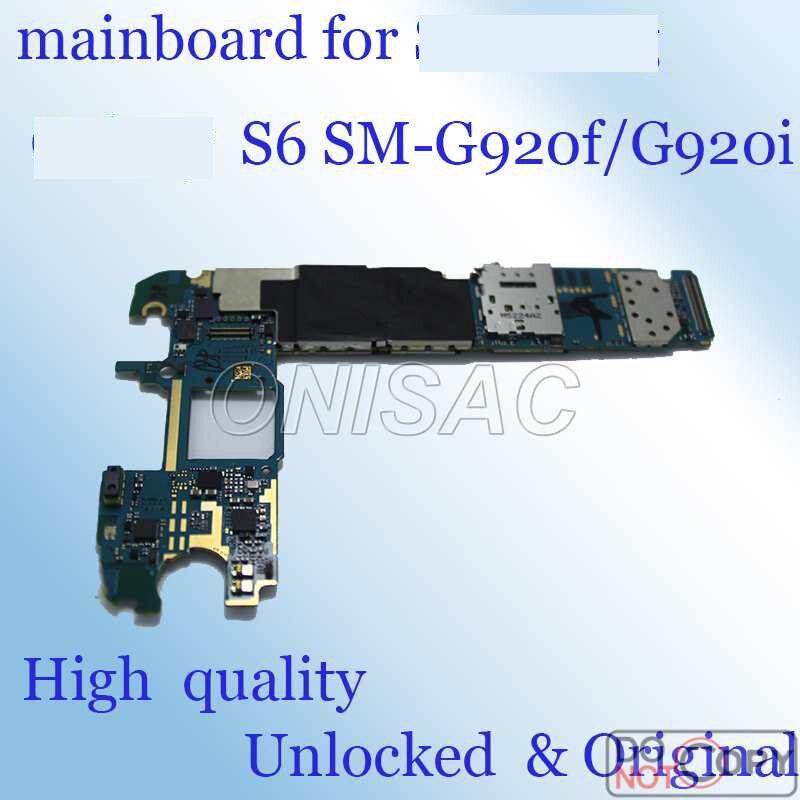 imágenes para Buen trabajo Original y Desbloqueado para Samsung galaxy S6 G920f/G920i placa madre toda la función Lógica mainboard con fichas completas junta