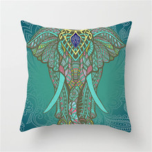Fuwatacchi Elephant Cushion Cover Mandala Throw Pillow for Home Chair Indian National Style Decorative Pillows 45*45