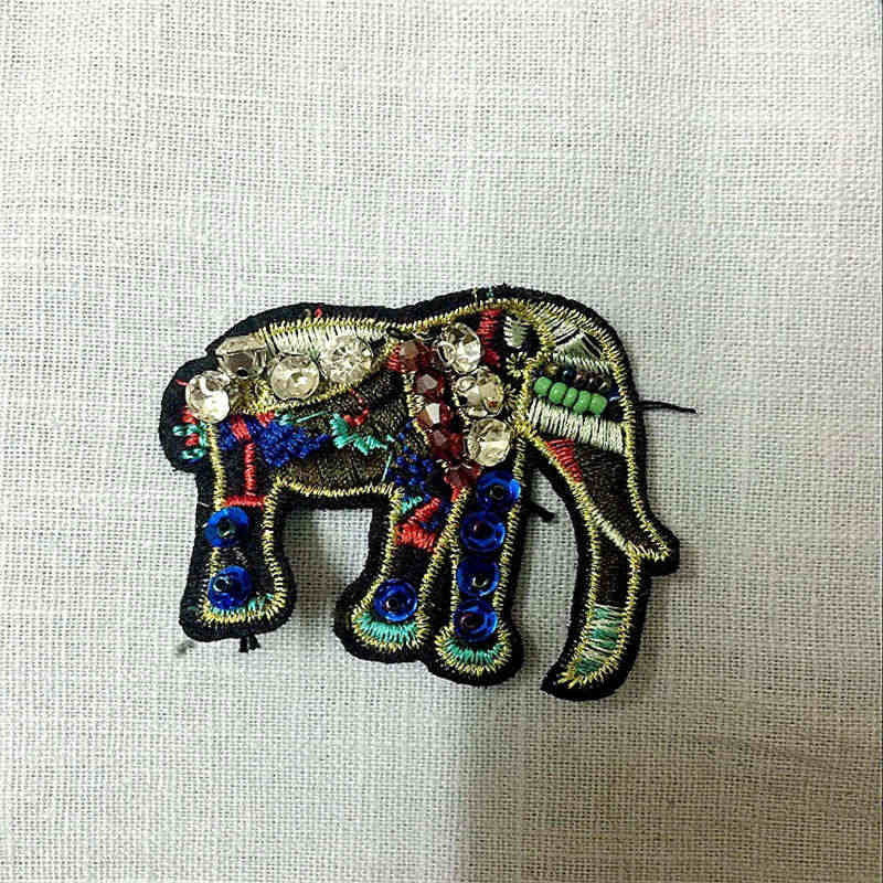 Beads Rhinestone Elephant Patches Sew On Badge Bag Appliques Sewing Craft