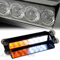 CAR TRUCK 8 LED 8LED AMBER + WHITE EMERGENCY VEHICLE DASH WARNING STROBE FLASH LIGHT