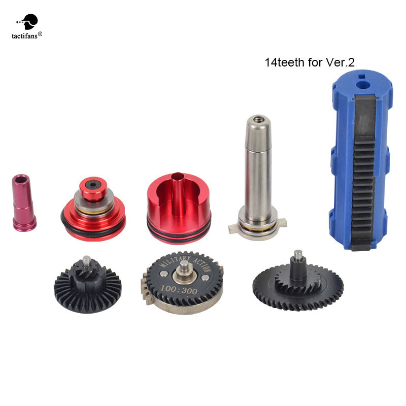 100:300 High Speed Gear 14/15 Teeth Piston Cylinder Piston Head Spring Guide Nozzle Tune-Up Set for M4/AK series Airsoft AEG/GBB m4 ver 2 aeg airsoft accessories high speed gear piston head spring guide nozzle cylinder 13 1 16 1 18 1 200 100 300 100 cnc