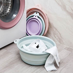 Bucket-Container Washbasin Bathroom-Accessories Folding Travel Collapsible Silicone Portable