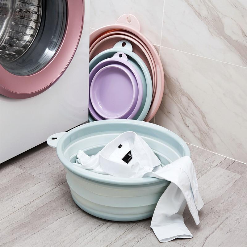 Travel Folding Wash Basin Bucket Container Portable Fruit Basin Collapsible Silicone Washtub Baby Washbasin Bathroom Accessories