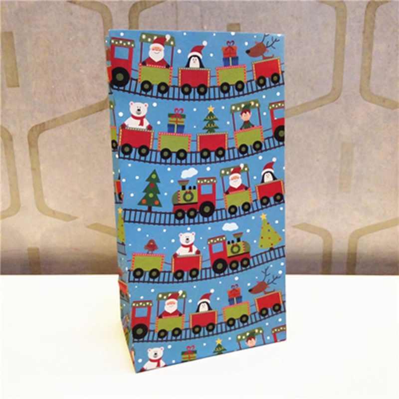 スノーフレークメリークリスマス紙袋雪だるまクリスマスツリー食品クッキーギフト包装バッグ誕生日パーティーの好意スタンドバッグ