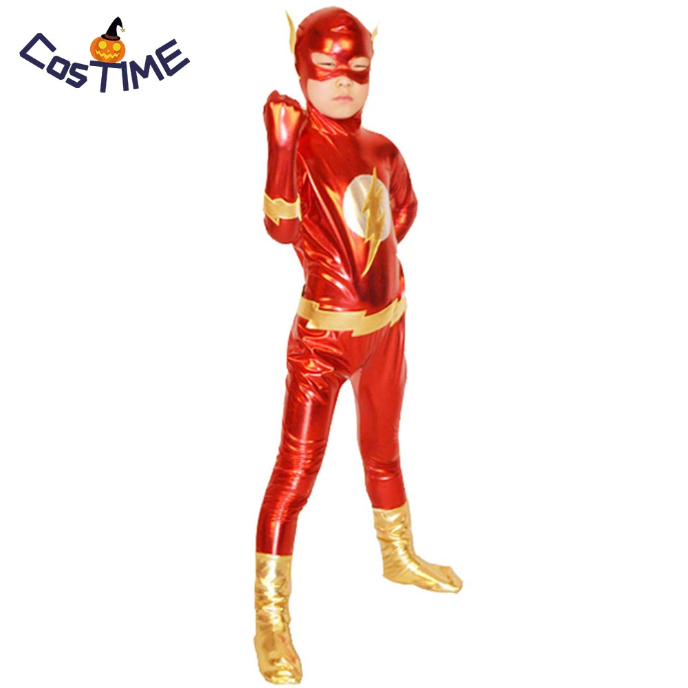 The Flash Costume kids boys x-men cosplay Superhero halloween costumes for kids bodysuit Zentai Shiny carnival costume custom