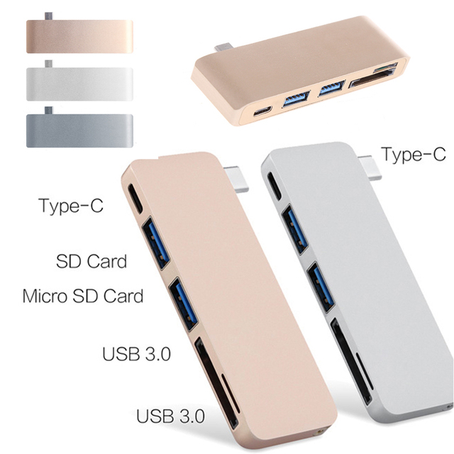 5In1 USB C 3.1 Type C Hub Power Delivery PD-Power High Speed USB 3.0 Combo Splitter SD/TF Card Reader For Dell MacBook 2