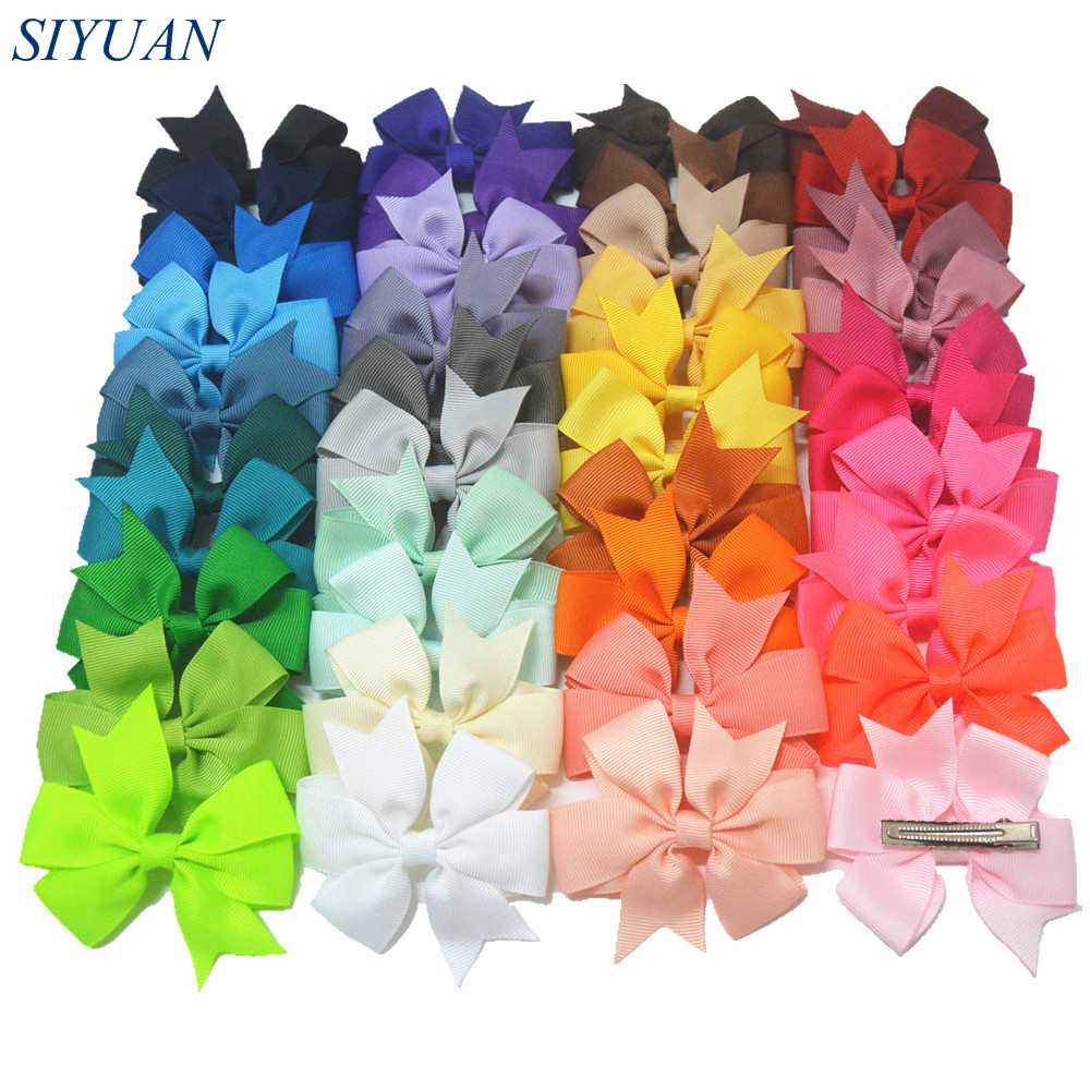 40pcs/lot 3'' Grosgrains Ribbon Bow with Hair Clip Women Hairpin Cheap Headwear for Kids 40 Colors Available FC11 5 6pcs lot headwear set children accessories ribbon bow hair clip hairpin rabbit ears for girls princess star headdress t2