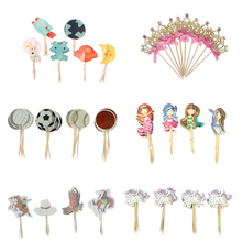 24pcs Cartoon Cute White Rabbit balls unicorn crown Cake pick Hat Party Decorations baby Birthday Wedding Flowers Cupcake topper(China)
