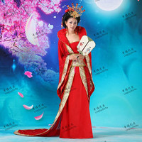 Hanfu Costume Tang Suit Hanfu Queen Clothes Yangguifei Princess Costume Girl Tuxedos Red Pink Lake Blue Chinese Ancient Costumes