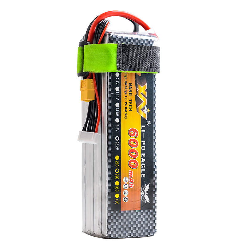 1pcs YW RC Lipo Battery 7.4V/11.1V 6000mah 30C AKKU Batteria XT60 Plug For Helicopter RC Model Trex 500 Traxxas Car Boat extra spare floureon xt60 plug 14 8v 4200mah 30c battery for rc helicopter airplane boat model