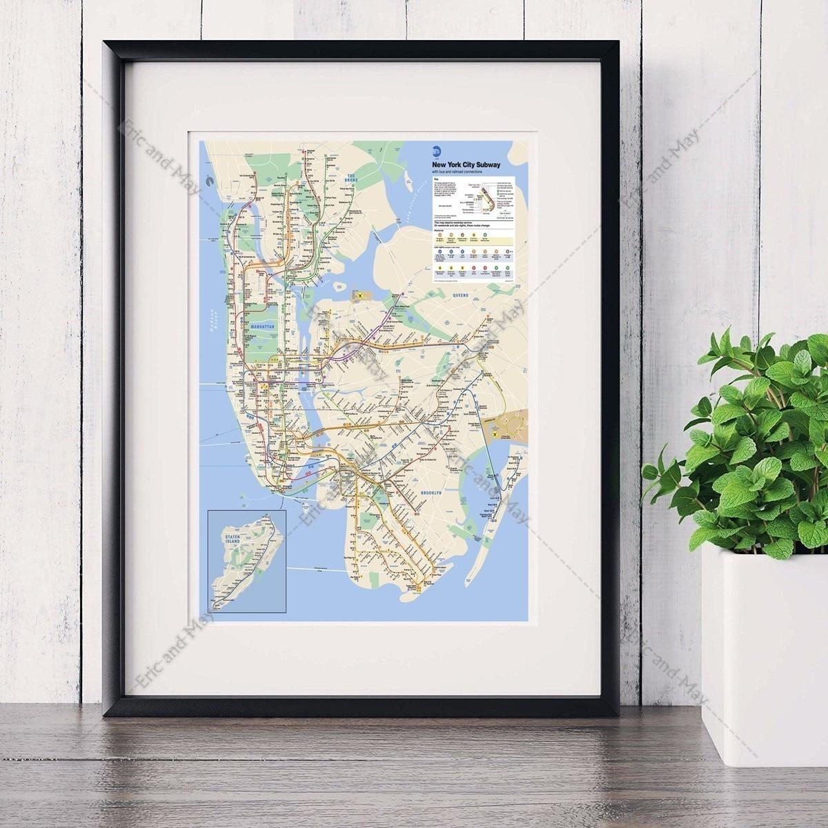 metro de nueva york mapa pintura canvas art print poster cuadro de la pared para la