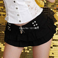 Flare micro mini falda con gradas tachonado botín sexy skater clubwear negro blanco nuevo 047-4701