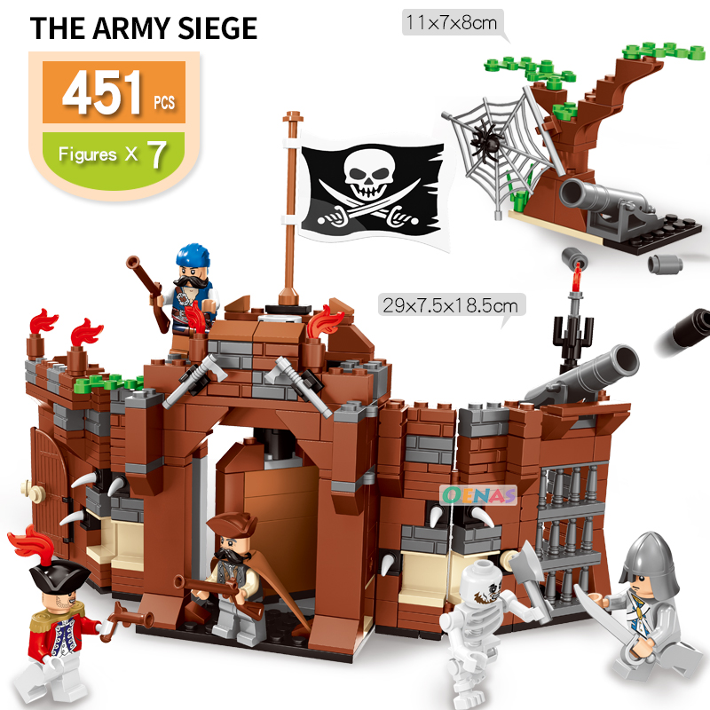 Caribbean Pirate Compatible Legoed Building Bricks Blocks Kid Kits Toy Set The Army Siege Pirate Castle Children Birthday Gift
