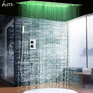 "Image 4 - hm 2Jets Concealed Thermostatic Shower Set installed in wall 20x40"" Rainfall LED Shower Head with Hand Shower Head"