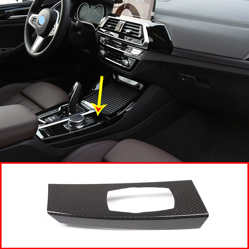 Real <font><b>Carbon</b></font> Fiber Style Car Multimedia knob Panel Cover <font><b>Trim</b></font> For <font><b>BMW</b></font> <font><b>X3</b></font> X4 <font><b>G01</b></font> G02 2018-2019 Car Accessorie For LHD image