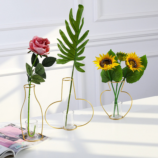 New Plant Flower Iron Line Vase For Flowers Black Metal Minimalism Modern Home Decor Plant Vase Stand Holder Without Glass Cup