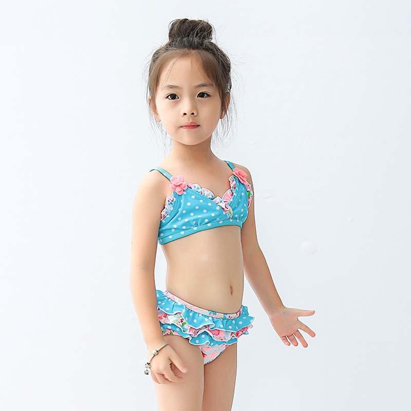 1 8 Year Girls Blue Print Split Swimsuit Skirt Type Split