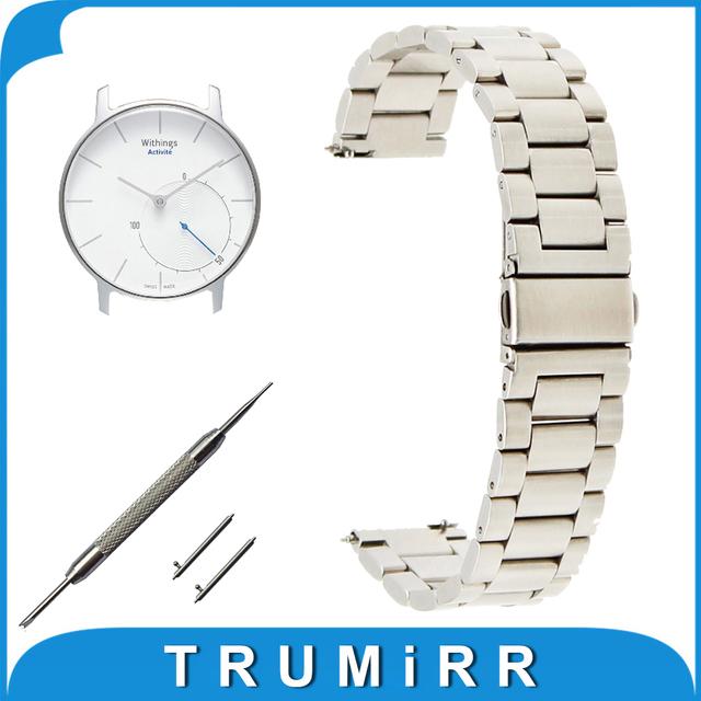 18mm de Acero Inoxidable Reloj Band + Pernos de Liberación Rápida para Withings activité/Acero/Pop de Pulsera Pulsera de La Correa Negro Oro Plata