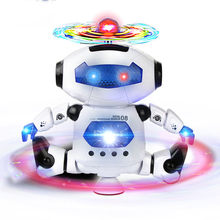 New Electric 360-Degree Rotating Music Dancing Robot Toy Musical Dance Walk Light Electronic Model Toys For Children Gifts