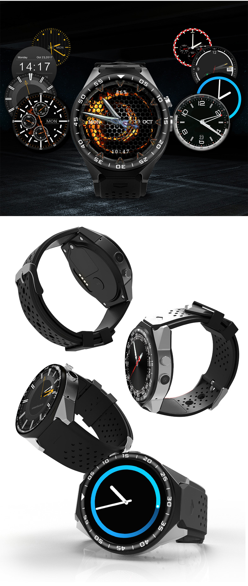 3G Android Smart Watch Phone Heart Rate Monitor Touch Screen Support GPS Wifi SIM Camera App silver 3 11