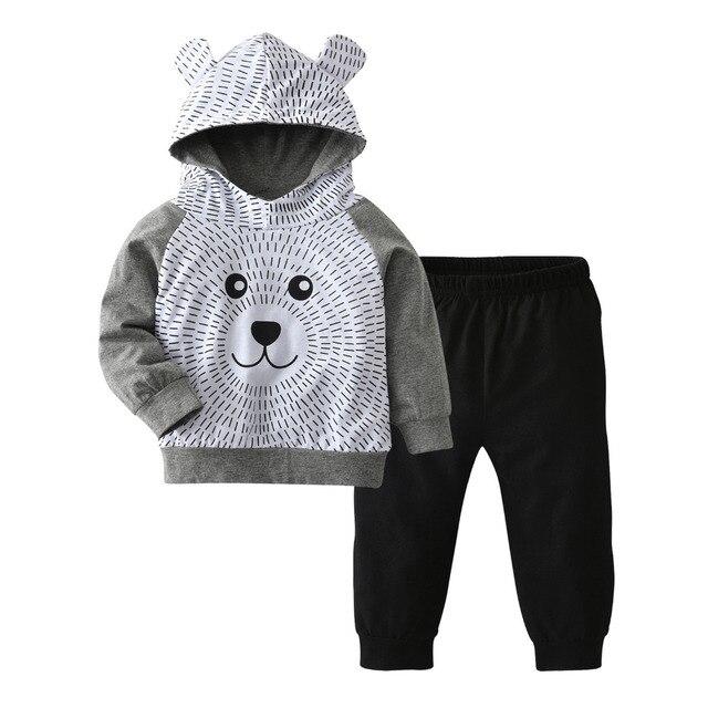 b3cadbb7f830 Autumn Baby Boy Clothes Set Infant Clothing Cute Bear Hoodie Long ...