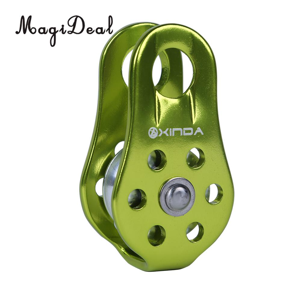 MagiDeal Lightweight 20KN Single Pulley Fixed Side Rope Pulley for Climbing Gear Arborist Rescue Caving Mountaineer Application multifunctional professional handle pulley roller gear outdoor rock climbing tyrolean traverse crossing weight carriage fit