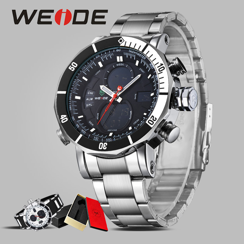 WEIDE watch dress watch business casual stainless steel date digital luxury quartz water resistant watches sport relogio clock weide popular brand new fashion digital led watch men waterproof sport watches man white dial stainless steel relogio masculino