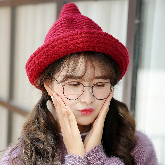 Nuevo invierno cálido curling oído-piercing tejer sombrero de lana de moda para Mujer chamán cap