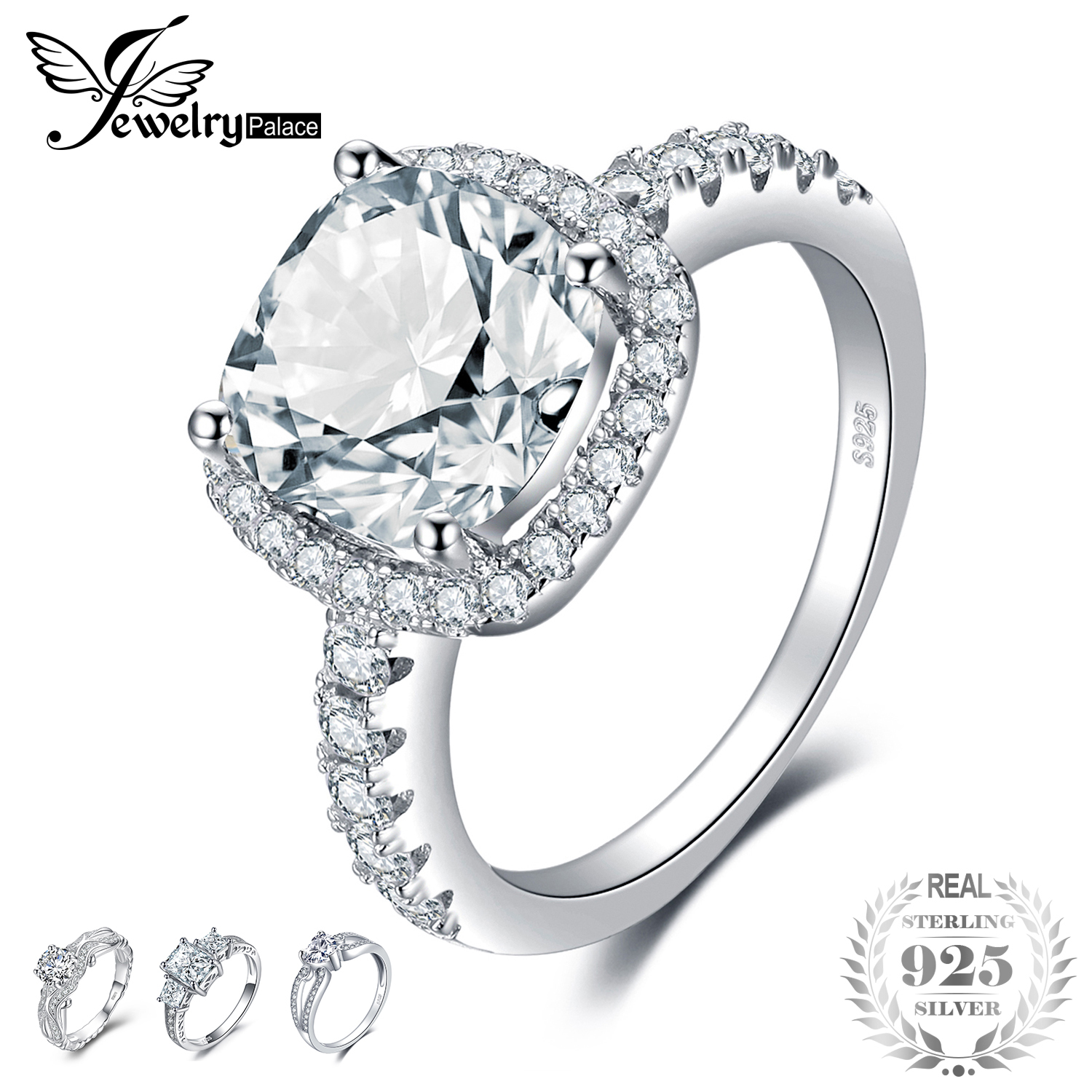 JewelryPalace Cushion 3ct Wedding Halo Solitaire Engagement Ring 925 Sterling Silver Ring for  Wedding Jewelry 2018 New HotJewelryPalace Cushion 3ct Wedding Halo Solitaire Engagement Ring 925 Sterling Silver Ring for  Wedding Jewelry 2018 New Hot