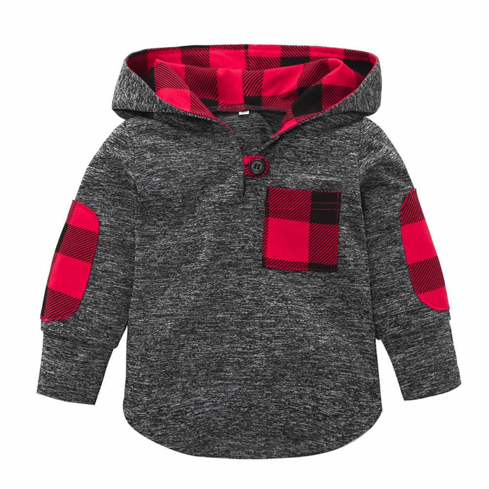 Peuter Baby Jongen Meisje Plaid Hoodies Sweatshirt Kids Lange Mouw Pocket Trui Patchwork Button Tops Herfst Winter Kleding 2019