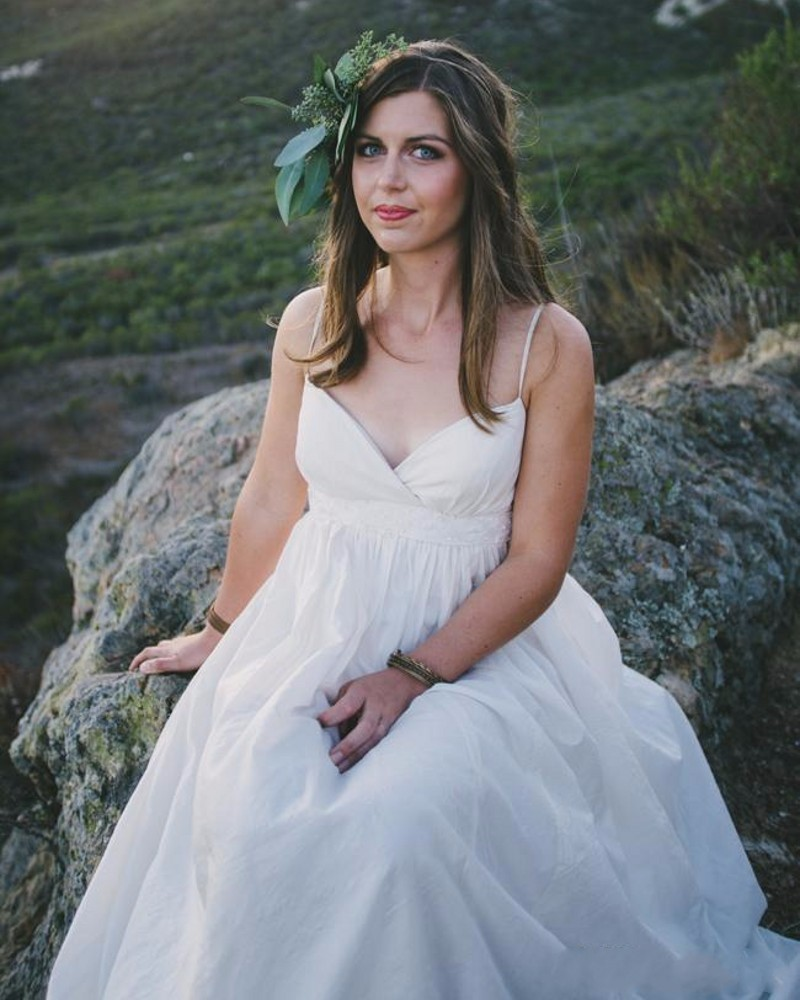 Beach Spaghetti Strap Wedding Gown: Sexy Spaghetti Straps Empire Maternity Wedding Dresses