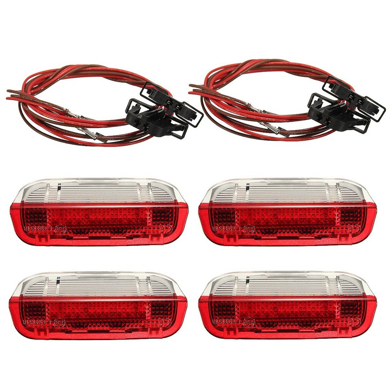 New 4 Pcs/Set Door Warning Light With Cable For VW/Volkswagen /Golf 5 Golf 6 Jetta MK5 MK6 CC /Tiguan /Passat B6 a style car door warning light cable plug harness clips for vw jetta mk5 golf 5 6 7 passat b6 b7 tiguan superb eos cc 3ad947411