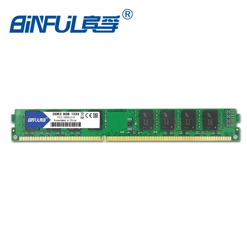 Binful 8GB 1333MHz PC3 10600 Desktop Memory RAM non ECC System High Compatible 1.5v
