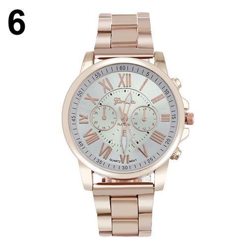 Fashion Geneva Women Men Roman Number Stainless Steel Analog Quartz Wrist Watche