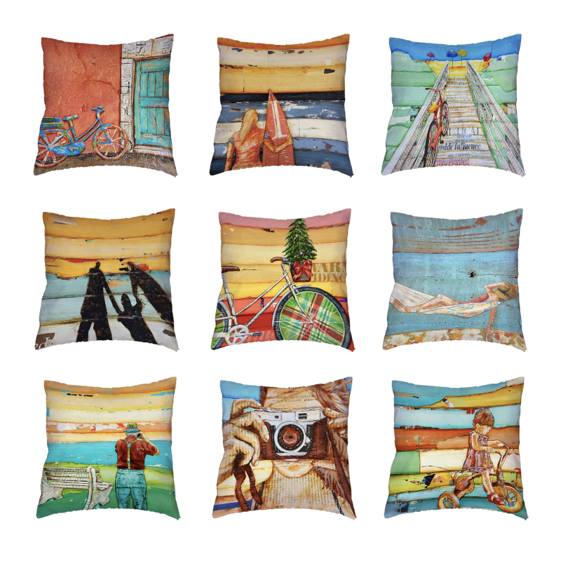 New Design Scenic Decorative White Cushion Covers Printed Home Decor Lounger For The Beach Peach Skin Colorful Wood Pillow Cases