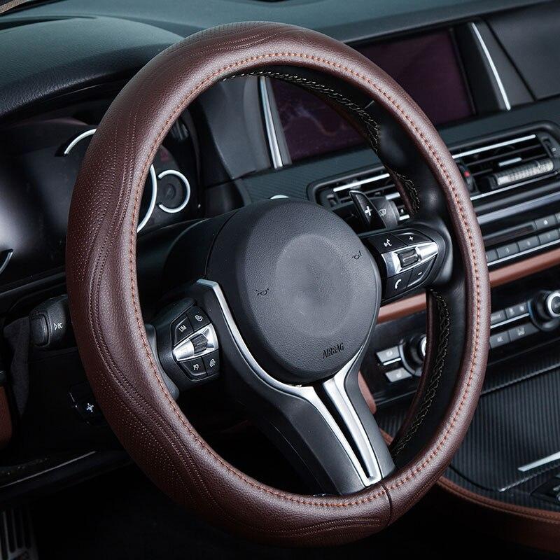 car steering wheel cover genuine leather auto accessories for Kia borrego carens carnival forte k2 k3 k5 k7 kx3 kx5 kx7