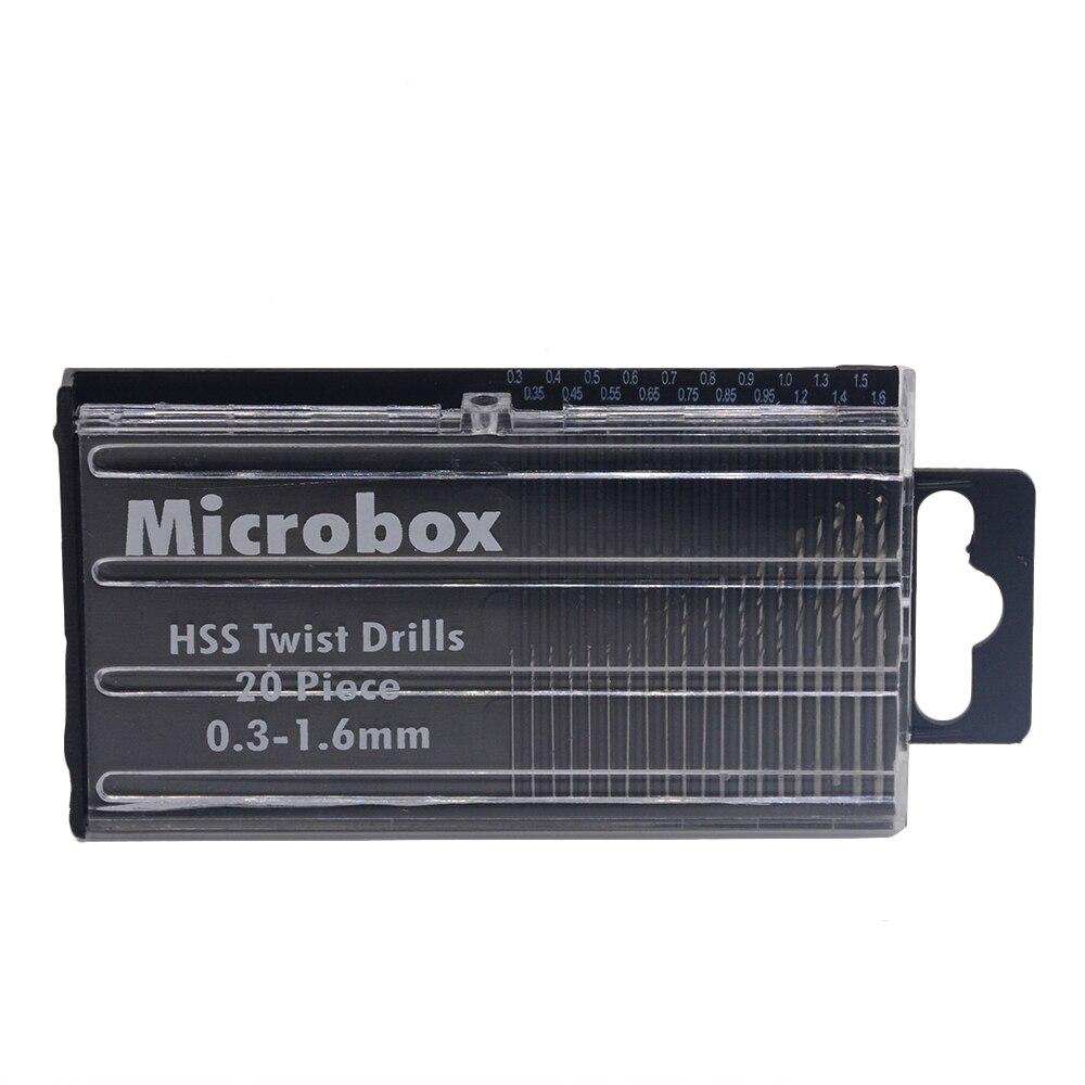 20pcs/lot  Mini Micro HSS Twist Drill Bit Set 0.3mm-1.6mm Model Craft With Case Tool PCB CNC Router Mill Machine Parts