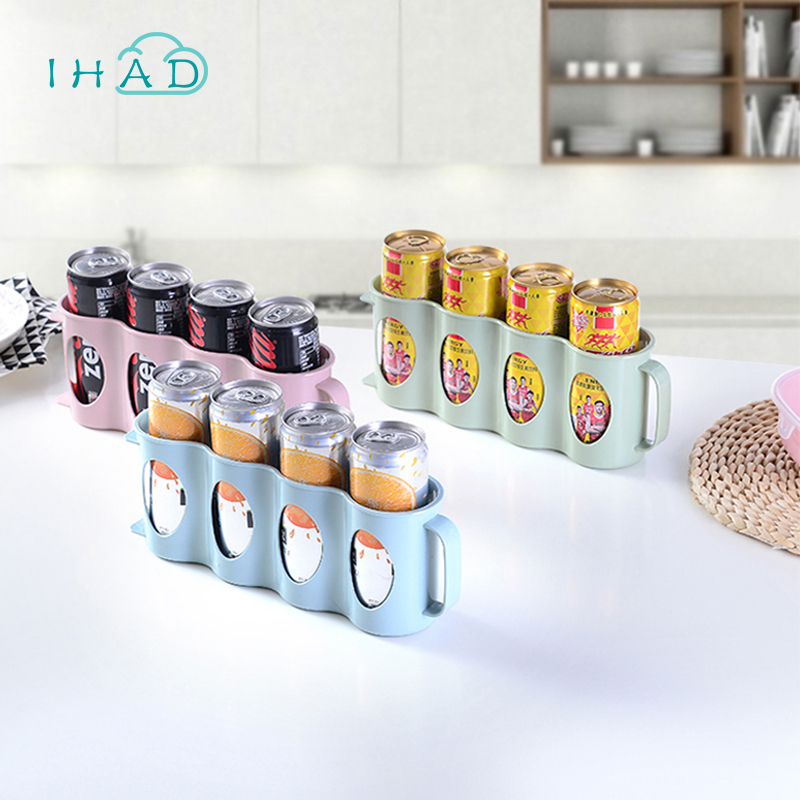 Hand-held beer Beverage box for refrigerator creative handle can be installed four cans beer drink organizer storage box