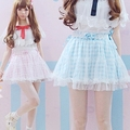 2016 Verano A Cuadros Rosa Azul pajarita Linda de Encaje Japonés mini falda corta Lolita Joven Encantadora Niñas Faldas moda Kawaii faldas
