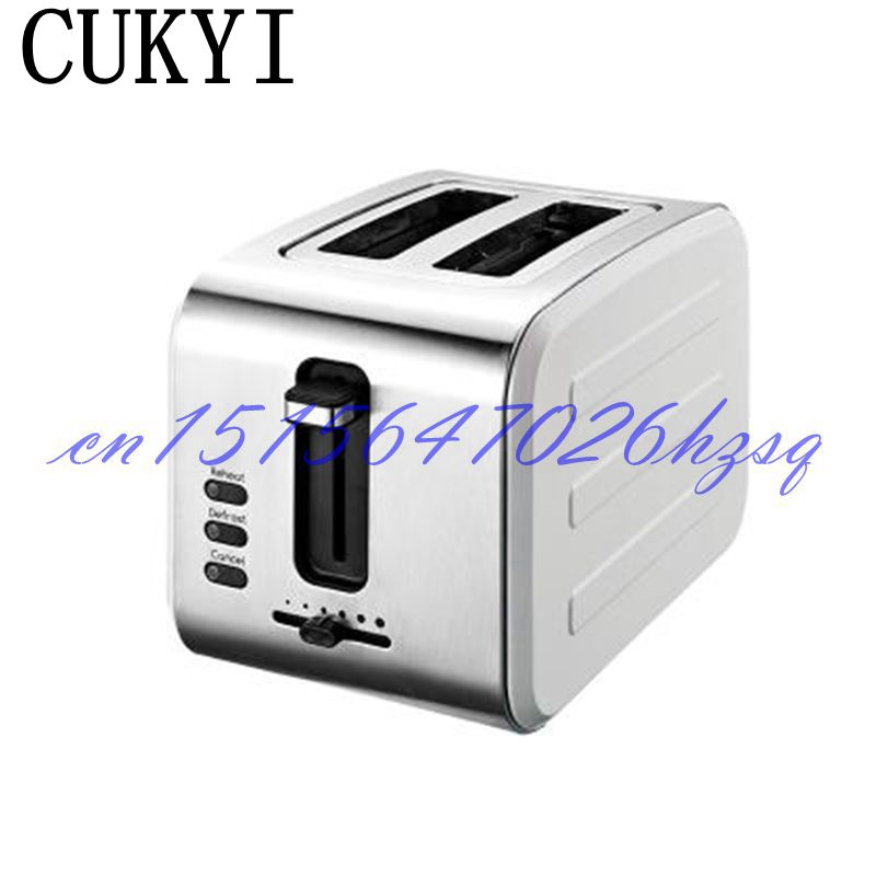 CUKYI 800W Two slices Household toaster Bread Fully automatic breakfast 6 gears machine stainless steel baking Heating 220V dmwd mini household bread maker electrical toaster cake cooker 2 slices pieces automatic breakfast toasting baking machine eu us