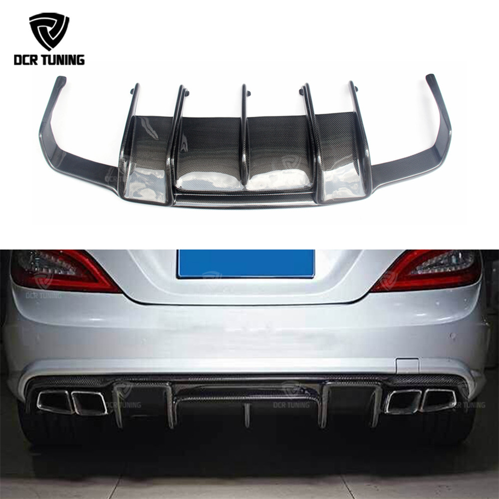 For Mercedes - Benz CLS Class W218 CLS63 AMG Carbon Fiber Rear Trunk Diffuser R Style 2011 2012 2013 2014 2015 - on 2010 2014 mercedes benz cls63 amg black weathertech cargo liners